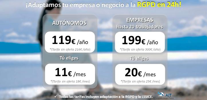 Adaptación al RGPD y LSSICE en solo 24h